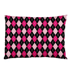 Argyle Pattern Pink Black Pillow Case (Two Sides)