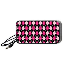 Argyle Pattern Pink Black Portable Speaker (Black)