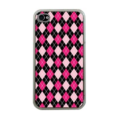 Argyle Pattern Pink Black Apple iPhone 4 Case (Clear)