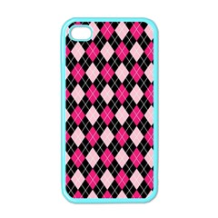 Argyle Pattern Pink Black Apple iPhone 4 Case (Color)