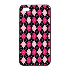 Argyle Pattern Pink Black Apple iPhone 4/4s Seamless Case (Black)