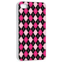 Argyle Pattern Pink Black Apple iPhone 4/4s Seamless Case (White)