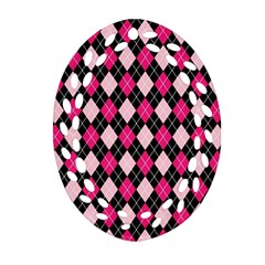 Argyle Pattern Pink Black Oval Filigree Ornament (2-Side)
