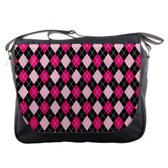 Argyle Pattern Pink Black Messenger Bags