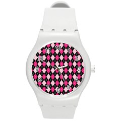Argyle Pattern Pink Black Round Plastic Sport Watch (M)