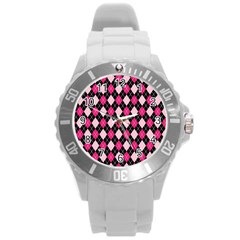 Argyle Pattern Pink Black Round Plastic Sport Watch (L)