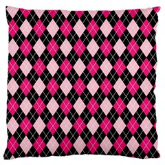 Argyle Pattern Pink Black Large Cushion Case (One Side)