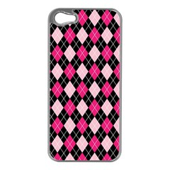Argyle Pattern Pink Black Apple iPhone 5 Case (Silver)