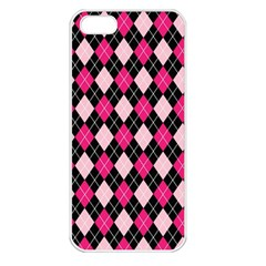 Argyle Pattern Pink Black Apple iPhone 5 Seamless Case (White)