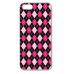 Argyle Pattern Pink Black Apple Seamless iPhone 5 Case (Clear)