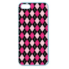 Argyle Pattern Pink Black Apple Seamless iPhone 5 Case (Color)