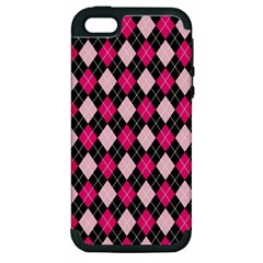 Argyle Pattern Pink Black Apple iPhone 5 Hardshell Case (PC+Silicone)