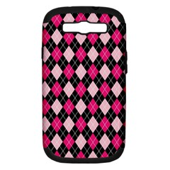 Argyle Pattern Pink Black Samsung Galaxy S III Hardshell Case (PC+Silicone)