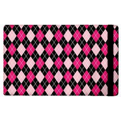 Argyle Pattern Pink Black Apple iPad 3/4 Flip Case