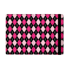 Argyle Pattern Pink Black Apple iPad Mini Flip Case