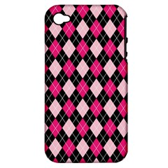 Argyle Pattern Pink Black Apple iPhone 4/4S Hardshell Case (PC+Silicone)