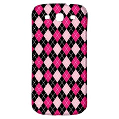 Argyle Pattern Pink Black Samsung Galaxy S3 S III Classic Hardshell Back Case
