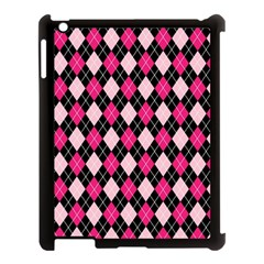 Argyle Pattern Pink Black Apple iPad 3/4 Case (Black)