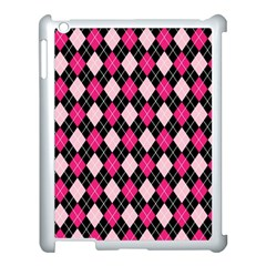 Argyle Pattern Pink Black Apple iPad 3/4 Case (White)