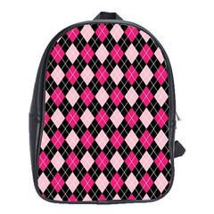 Argyle Pattern Pink Black School Bags (XL)