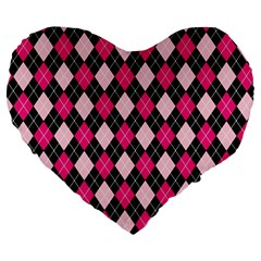 Argyle Pattern Pink Black Large 19  Premium Heart Shape Cushions