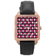 Argyle Pattern Pink Black Rose Gold Leather Watch