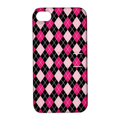 Argyle Pattern Pink Black Apple iPhone 4/4S Hardshell Case with Stand