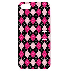 Argyle Pattern Pink Black Apple iPhone 5 Hardshell Case with Stand