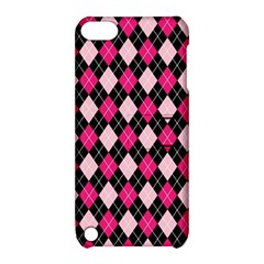 Argyle Pattern Pink Black Apple iPod Touch 5 Hardshell Case with Stand