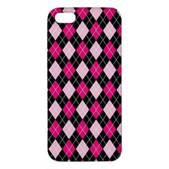 Argyle Pattern Pink Black Apple iPhone 5 Premium Hardshell Case