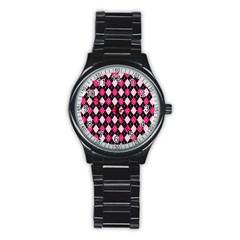 Argyle Pattern Pink Black Stainless Steel Round Watch