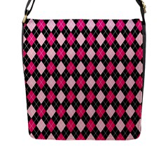 Argyle Pattern Pink Black Flap Messenger Bag (L)