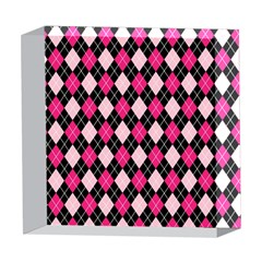 Argyle Pattern Pink Black 5  x 5  Acrylic Photo Blocks