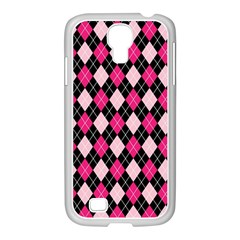 Argyle Pattern Pink Black Samsung GALAXY S4 I9500/ I9505 Case (White)