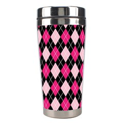 Argyle Pattern Pink Black Stainless Steel Travel Tumblers