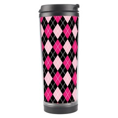 Argyle Pattern Pink Black Travel Tumbler