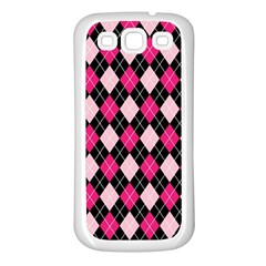 Argyle Pattern Pink Black Samsung Galaxy S3 Back Case (White)