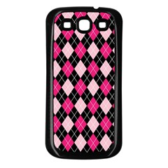 Argyle Pattern Pink Black Samsung Galaxy S3 Back Case (Black)