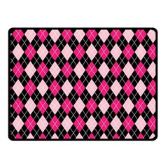 Argyle Pattern Pink Black Double Sided Fleece Blanket (Small)