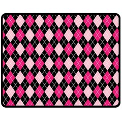 Argyle Pattern Pink Black Double Sided Fleece Blanket (Medium)