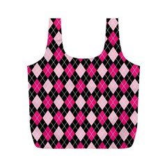 Argyle Pattern Pink Black Full Print Recycle Bags (M)