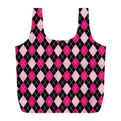 Argyle Pattern Pink Black Full Print Recycle Bags (L)