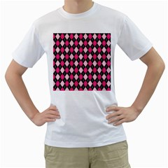 Argyle Pattern Pink Black Men s T-Shirt (White)