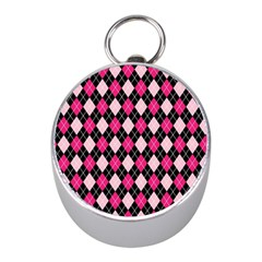 Argyle Pattern Pink Black Mini Silver Compasses