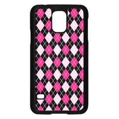 Argyle Pattern Pink Black Samsung Galaxy S5 Case (Black)