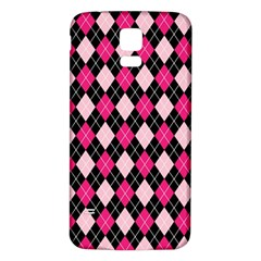 Argyle Pattern Pink Black Samsung Galaxy S5 Back Case (White)