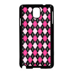 Argyle Pattern Pink Black Samsung Galaxy Note 3 Neo Hardshell Case (Black)