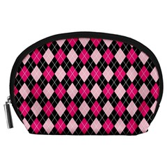 Argyle Pattern Pink Black Accessory Pouches (Large)