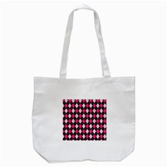 Argyle Pattern Pink Black Tote Bag (White)