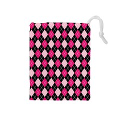 Argyle Pattern Pink Black Drawstring Pouches (Medium)